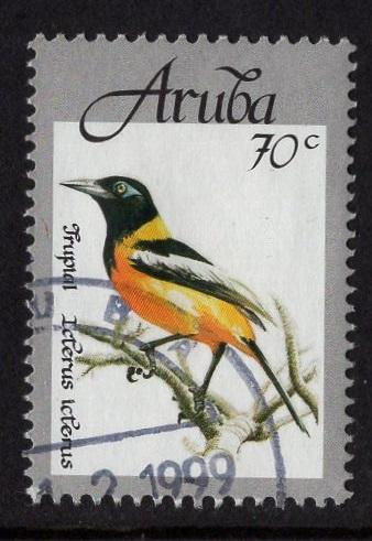 Aruba   #164   used  1998 native birds  70c
