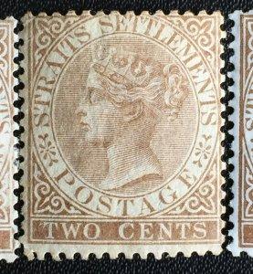 MALAYA 1868 Straits Settlements QV 2c CC MLH SG#11a M2680