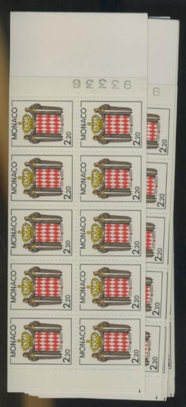 Monaco #1609A (5) MINT Booklets VF NH Cat$55