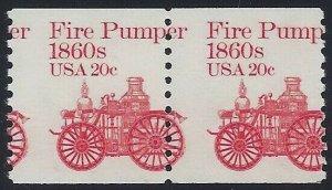 1908 - 20c Misperf Error / EFO Pair Fire Pumper Mint NH (Stk12)