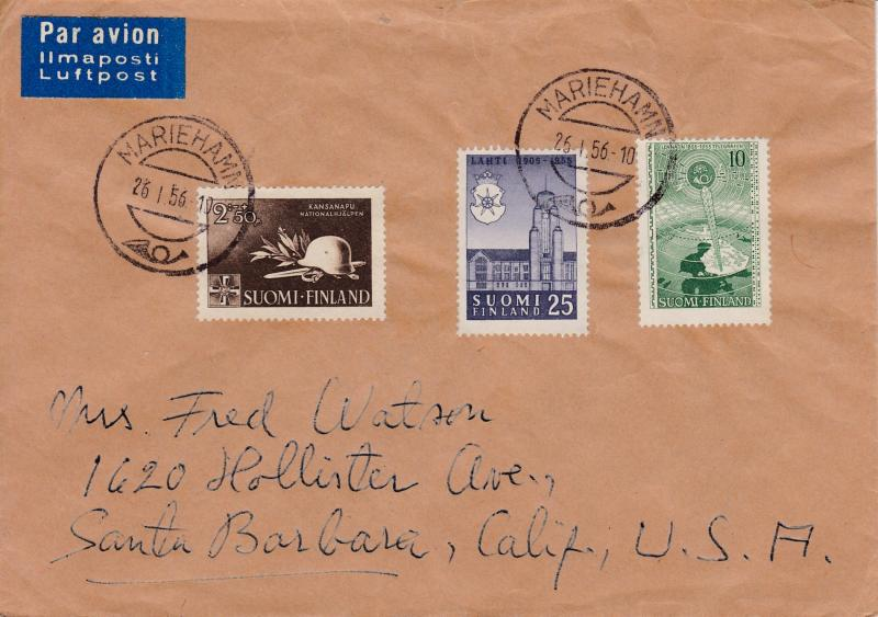 Finland 1956 Cover Mariehamn to Calif. Nice Franking Combination