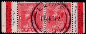 NEW ZEALAND 1926 GV 1d booklet pair Parisian Ties advert used..............42677