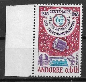 1965 French Andorra 167 International Telecommunication Union Centennial MNH