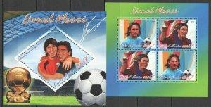 PE909 2011 IVORY COAST FOOTBALL LEGEND LIONEL MESSI & DIEGO MARADONA KB+BL MNH
