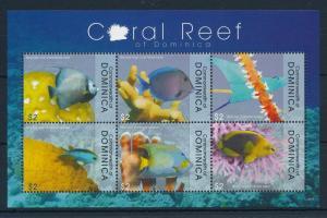 [29765] Dominica 2009 Marine Life Coral reef Fish MNH Sheet