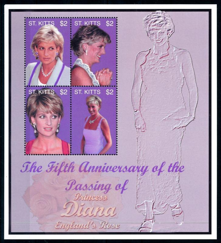 [95326] St. Kitts 2002 Royalty Princess Diana Sheet MNH