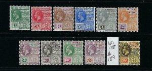 BRITISH GUIANA SCOTT #178-187/189 1913-17 GEORGE V WMK 3- MINT XLIGHT HINGED