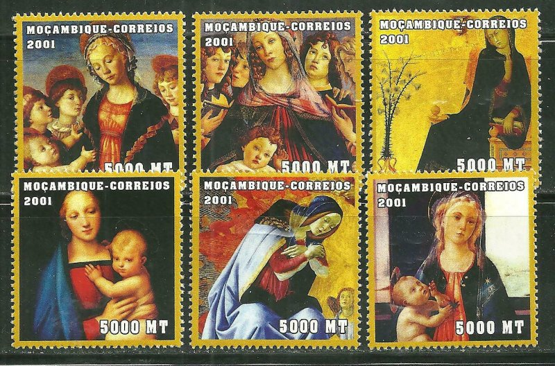 Mozambique MNH 1466A-F Madonna Christmas Paintings 2001