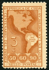 Cuba Scott 393 Unused FVLH - Cent. of 1st Brazilian Postage Stamp - SCV $3.00