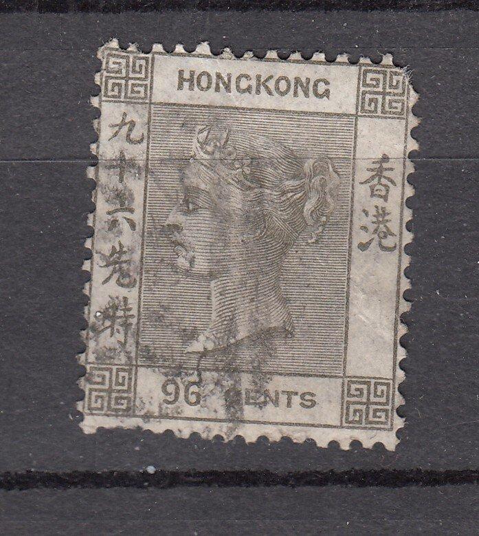 J28253 1863-80 hong kong used #24 queen wmk 1 short perfs  $62.50 scv