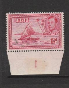Fiji 1938 1 1/2d Die 1 MM SG 251 with Cylinder Number marginal