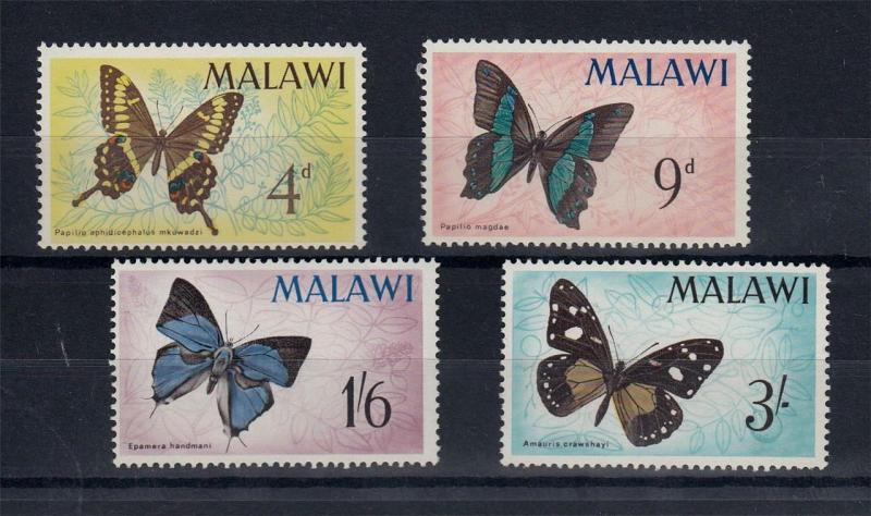 Butterflies 1966 MNH MALAWI Insects Animals Mots Set 4 Stamps #A2036