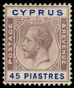 CYPRUS SG116, 45pi purple & blue, LH MINT. Cat £65.