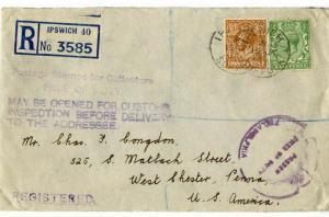 England Cover 1933 Registered Censor Warning
