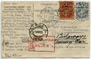LATVIA RIGA to Bulaway Congo AFRICA Postage Registered Cover Post Card 1925