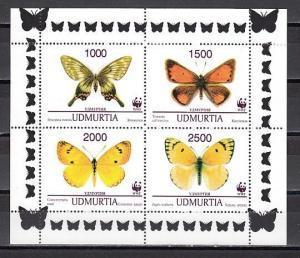 Udmurtia, R49-R52 Russian Local. Butterflies sheet of 4.