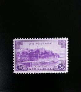 1937 3c Puerto Rico, La Fortaleza (The Fortress) Scott 801 Mint F/VF NH