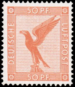 GERMANY 1926 50pf BROWN ORANGE AIR POST NH #C31 gorgeous with intense color C...
