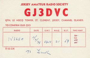 9767 Amateur Radio QSL Card LE HOCQ TOWER JERSEY CHANNEL ISLANDS