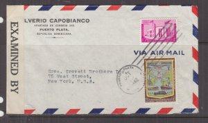 DOMINICAN REPUBLIC, 1942 Airmail Censored cover Puerto Plata to USA, 3c. & 10c.
