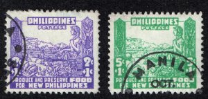 Philippines Stamp  #NB1-2  1942 OCCUPATION SEMI POSTAL  USED STAMPS