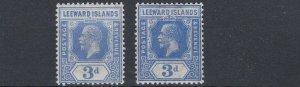 LEEWARD ISLANDS  1921 - 32  S G 68 + 68A   2X  3D  ULTRAMARINE    MH  CAT £88