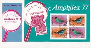 Suriname #  C71 (Footnoted) Amphilex 77 - Birds, Souvenir Sheet First Day Cover
