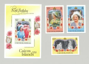 Caicos #74-77 Queen Mother 85th Birthday 3v & 1v S/S Imperf Proofs