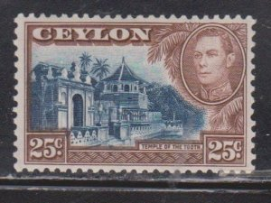 CEYLON Scott # 284 MH - KGVI & Temple Of The Tooth
