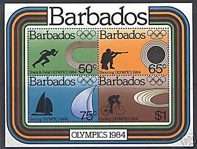 Barbados 626a MNH Olympic Sports, Cycling, Sailing, Shooting, Track & Field