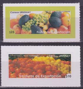 2009 food fruit vegetables grape apple tomatoe banana URUGUAY Sc#2278-9 MNH