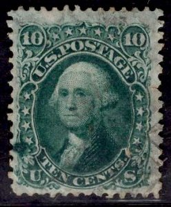 US Stamp #68A 10c Dark Green Washington USED SCV $85. Nice Color Variety