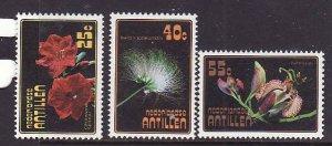Netherlands Antilles-Sc#394-6-unused NH set-Flowers-Flora-1977-