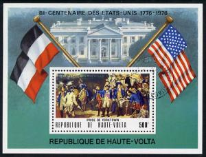 Upper Volta 1975 US Bicentenary 500f perf m/sheet cto used