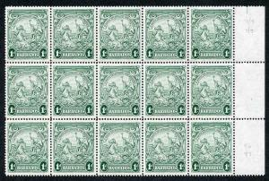 Barbados SG249c 1d blue-green R8/8 and 9/6 scratches across King R7/7 9/7 8/10