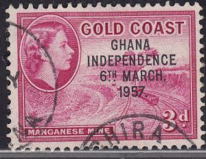 Ghana 8 USED 1957 Manganese Mine 3p