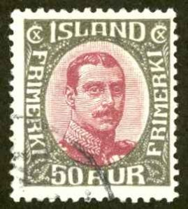 Iceland Sc# 125 Used 1920-1922 50a Christian X