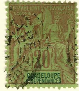 Guadeloupe SC #36 French Colony F-VF Used hr.....Make me an Offer!