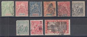 French Guiana Sc 36/143 used. 1892-33 issues, 9 diff singles, F-VF group.