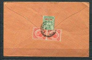 Jamaica 1920 Cover to USA Revenue Pair, Overprint war stamp SKU 308