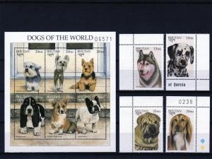 Bhutan 1997 Dogs of the World Set+Sheet+SS MNH Sc 1158/1163