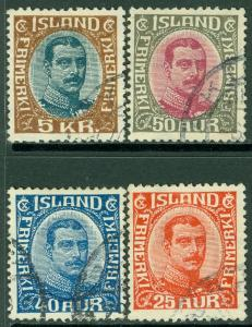EDW1949SELL : ICELAND 1920-22 Sc #121, 24, 25, 28 All Very Fine, Used. Cat $111.