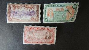 Cook Islands 1949 captain maps fishing john williams religion ships 3v MNH
