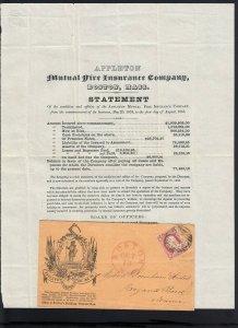 MASSACHUSETTS: Boston 1855 #11 Mutual FIRE INSURANCE STATEMENT Circular