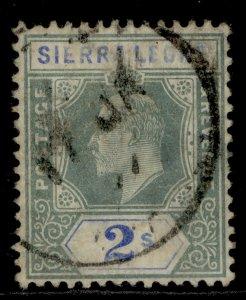 SIERRA LEONE EDVII SG96, 2s green and ultramarine, USED. Cat £42.