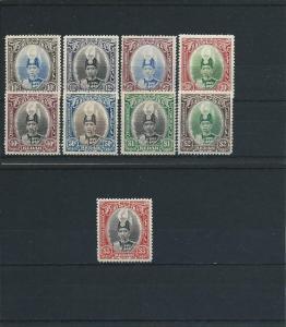 KEDAH 1937 SET OF NINE MM SG 60/68 CAT £275