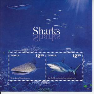 2014 Tuvalu Whale & Grey Reef Shark SS Pt II (Scott 1304)