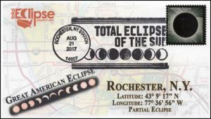17-262, 2017, Total Solar Eclipse, Rochester NY, Event Cover, Pictorial Cancel,