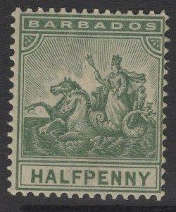 BARBADOS SG106 1892 ½d DULL GREEN MTD MINT