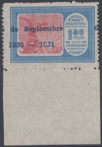 ARGENTINA 1931 AIRPOST Sc C33 MGNL SINGLE WIT HORIZONTALLY SHIFTED OVPT UNUSED